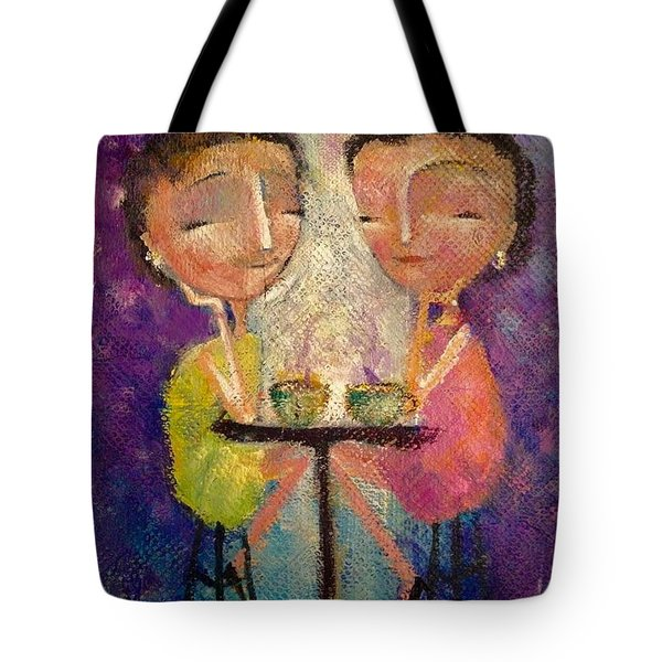Tote Bag featuring the painting Space For Friendship by Eleatta Diver