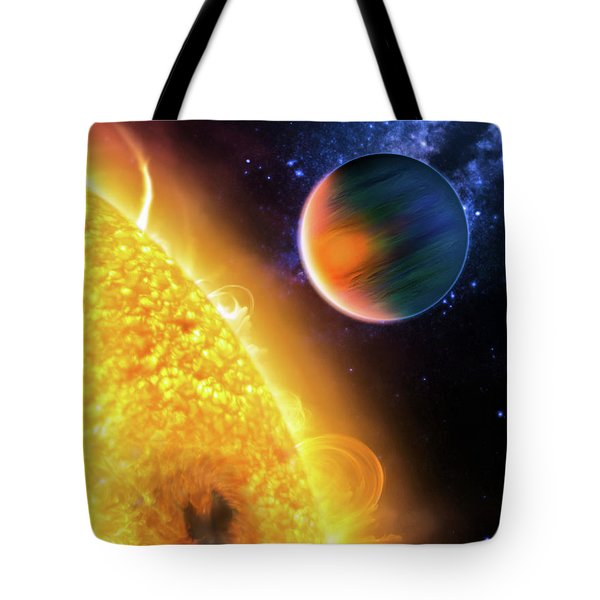 Tote Bag featuring the photograph Space Image Extrasolar Planet Yellow Orange Blue by Matthias Hauser