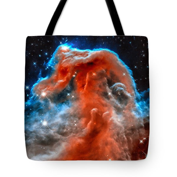 Space Image Horsehead Nebula Orange Red Blue Black Tote Bag