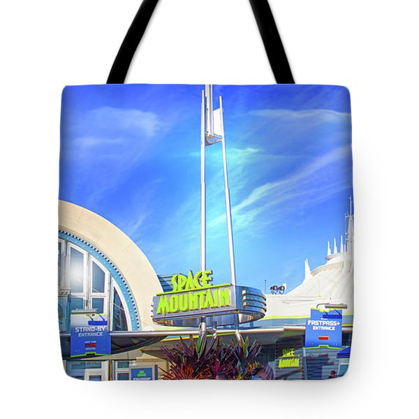 Tote Bag featuring the photograph Space Mountain Entrance Panorama by Mark Andrew Thomas