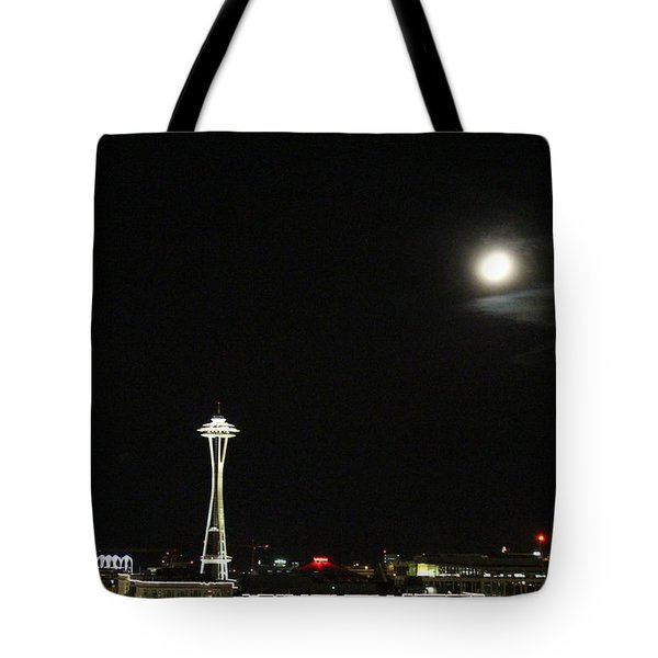 Space Needle And The Full Moon Tote Bag