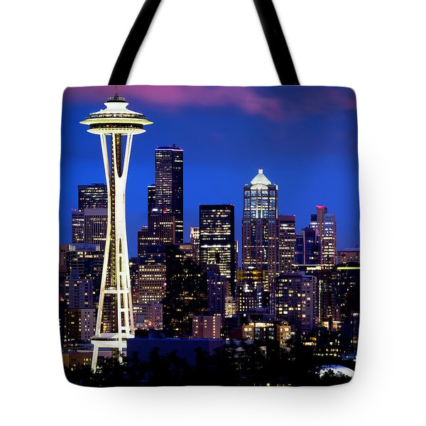 Space Needle At Night  Tote Bag