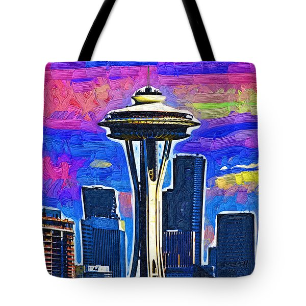 Tote Bag featuring the digital art Space Needle Colorful Sky by Kirt Tisdale