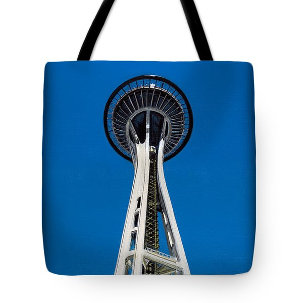 Tote Bag featuring the painting Space Needle by Jason Girard