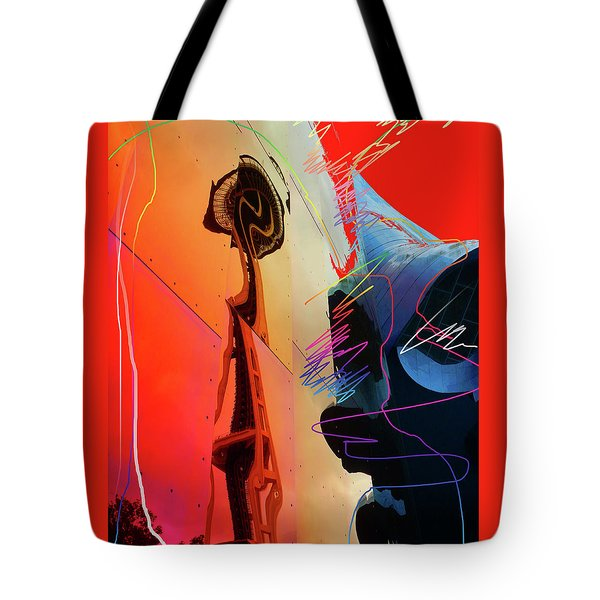 Tote Bag featuring the digital art Space Needle Reflection 1 by Walter Fahmy