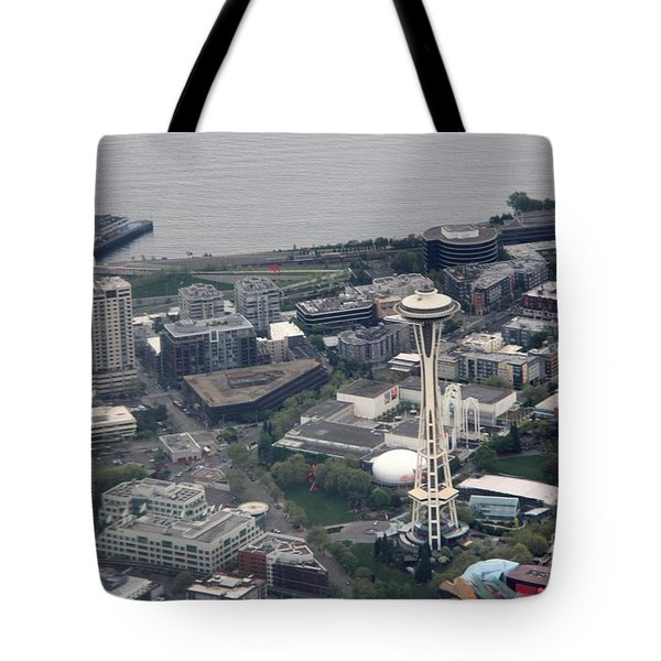 Tote Bag featuring the photograph Space Needle by Yumi Johnson