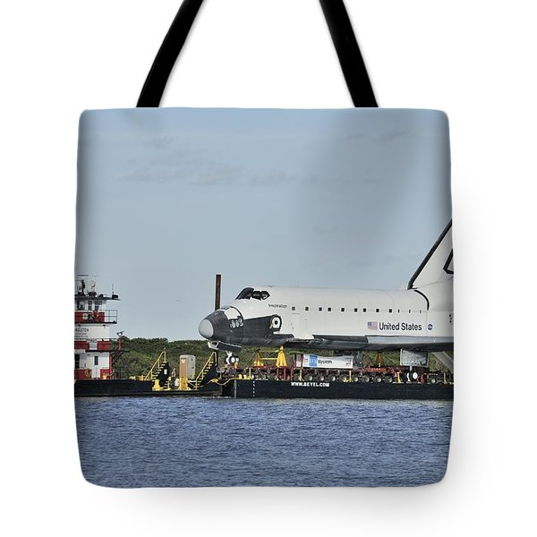 Tote Bag featuring the photograph Space Shuttle Inspiration On A Barge by Bradford Martin