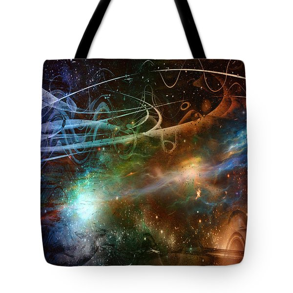 Tote Bag featuring the digital art Space Time Continuum by Linda Sannuti