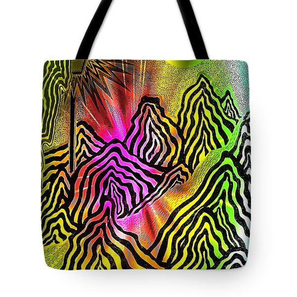 Tote Bag featuring the drawing Space White Black by Yury Bashkin