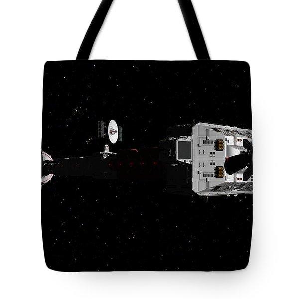 Spaceship Uss Cumberland Traveling Through Deep Space Tote Bag by David Robinson
