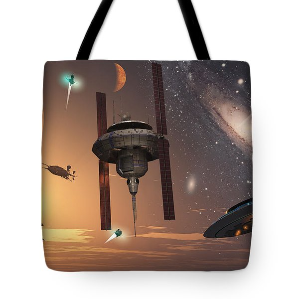 Spaceships Used By Different Alien Tote Bag by Mark Stevenson