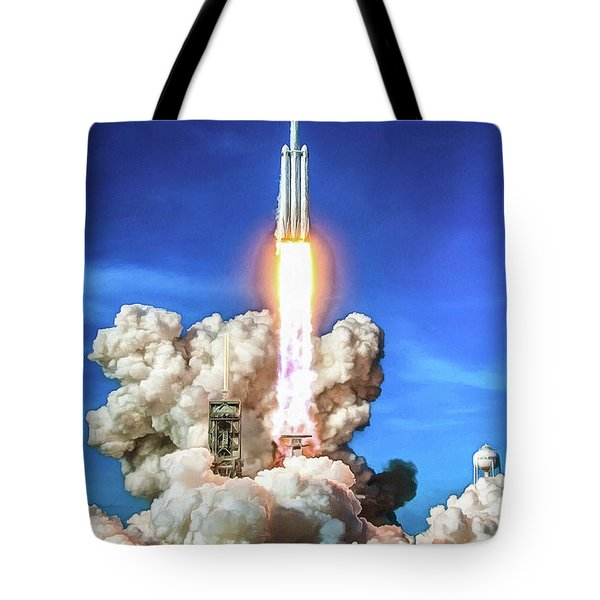 Spacex Falcon Heavy Rocket Launch Tote Bag
