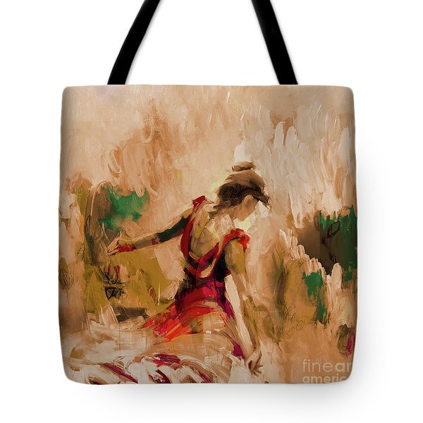 Tote Bag featuring the painting Spanish Dance Culture  by Gull G