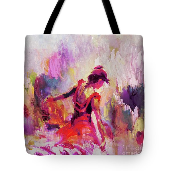 Tote Bag featuring the painting Spanish Female Art 0087 by Gull G
