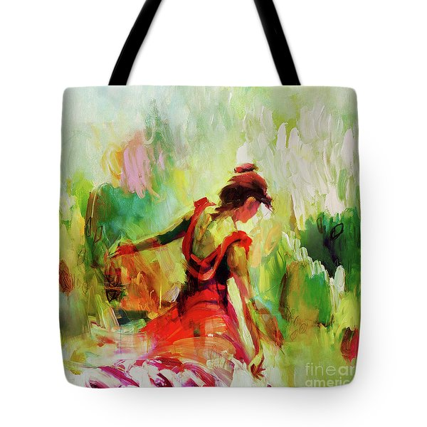 Tote Bag featuring the painting Spanish Female Art 56y by Gull G