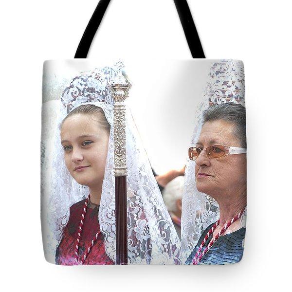 Spanish Ladies In Their Mantillas Tote Bag