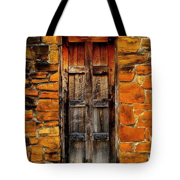 Spanish Mission Door Tote Bag by Perry Webster