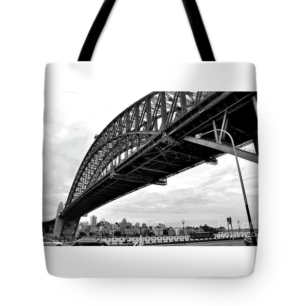 Spanning Sydney Harbour - Black And White Tote Bag by Kaye Menner