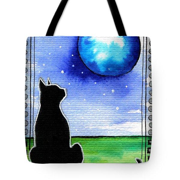 Sparkling Blue Bauble - Christmas Cat Tote Bag