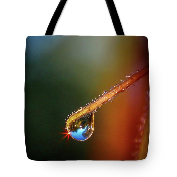 Tote Bag featuring the photograph Sparkling Drop Of Dew by Tom Claud