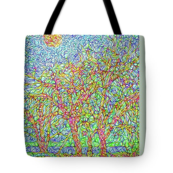Tote Bag featuring the digital art Sparkling Lakeside Trees - Park In Boulder County Colorado by Joel Bruce Wallach