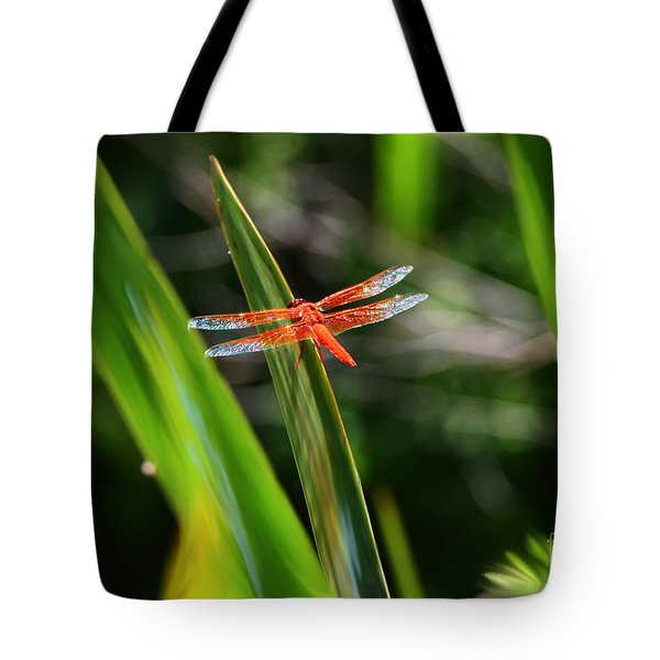 Sparkling Red Dragonfly Tote Bag