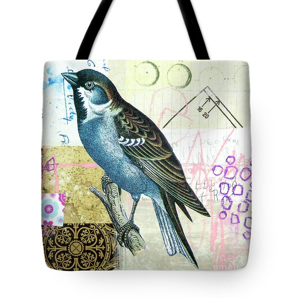 Tote Bag featuring the mixed media Sparrow by Elena Nosyreva