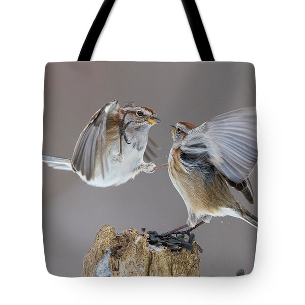 Tote Bag featuring the photograph Sparrows Fight by Mircea Costina Photography