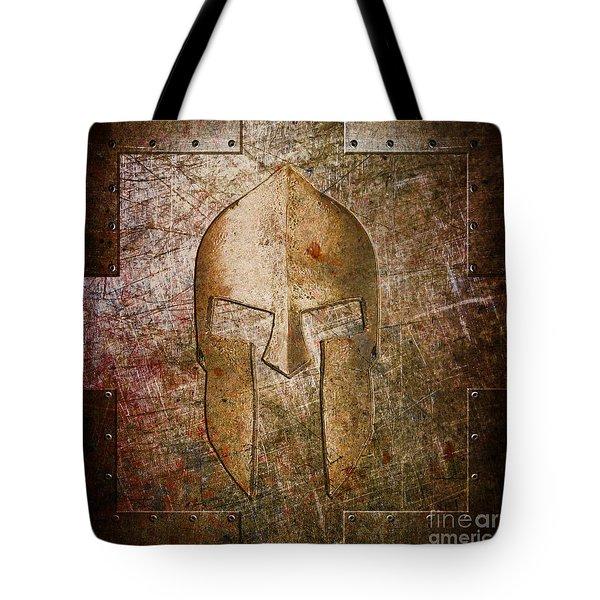 Spartan Helmet On Metal Sheet With Copper Hue Tote Bag
