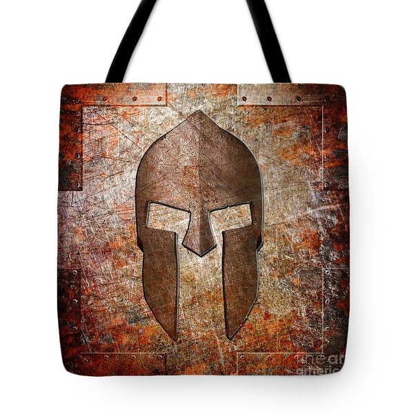 Spartan Helmet On Rusted Riveted Metal Sheet Tote Bag