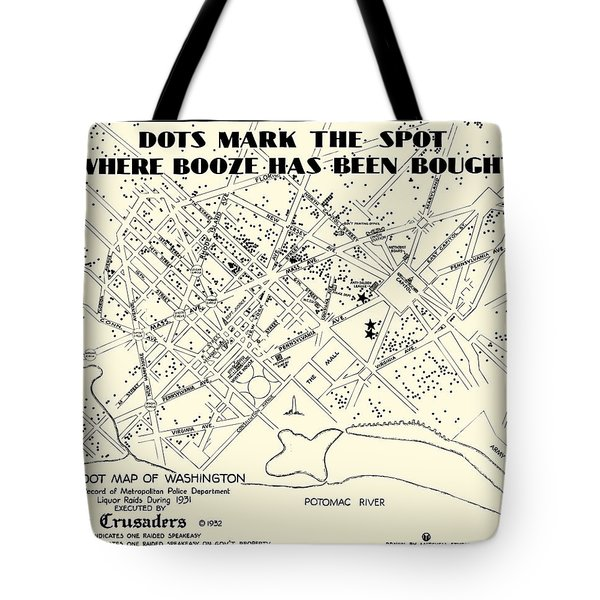 Speakeasy Prohibition Map Of Washington D. C.  1932 Tote Bag