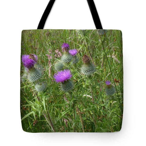 Spear Plume Thistles - Emblem Of Scotland Tote Bag