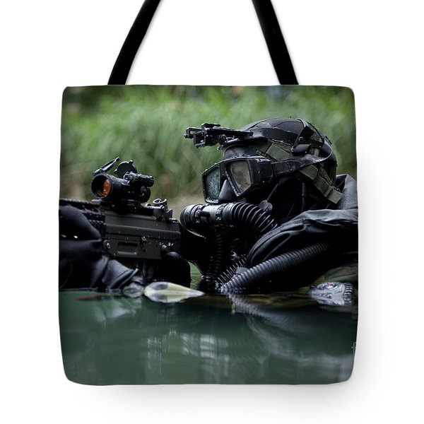 Special Forces Combat Diver Takes Tote Bag by Tom Weber