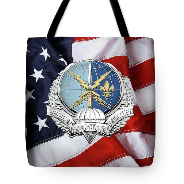 Special Operations Weather Team -  S O W T  Badge Over American Flag Tote Bag by Serge Averbukh