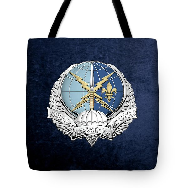 Special Operations Weather Team -  S O W T  Badge Over Blue Velvet Tote Bag by Serge Averbukh
