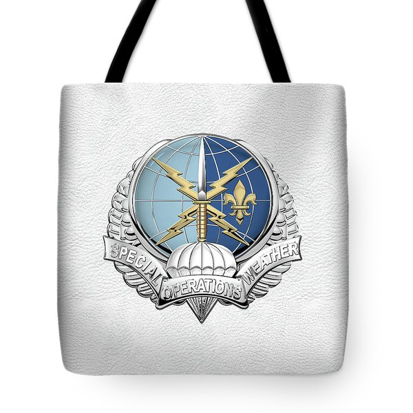 Special Operations Weather Team -  S O W T  Badge Over White Leather Tote Bag by Serge Averbukh