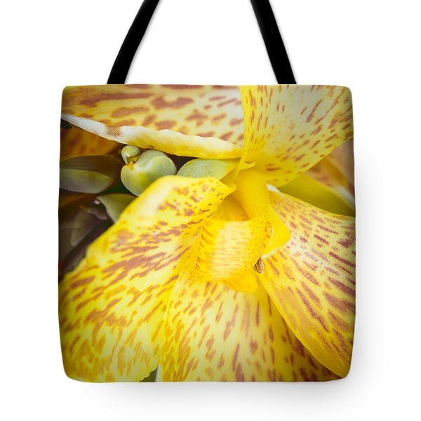 Tote Bag featuring the photograph Speckled Canna by Christi Kraft