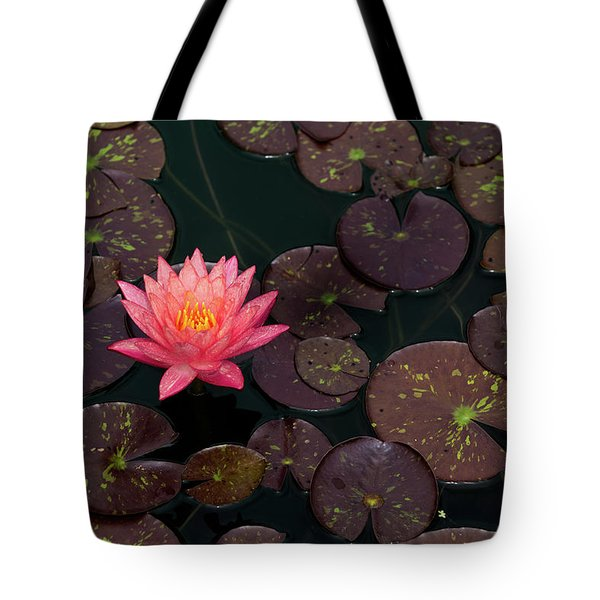 Tote Bag featuring the photograph Speckled Red Lily And Pads by Dennis Dame