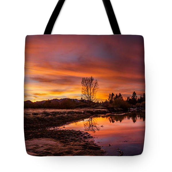 Spectacular Sunset On The River Tote Bag