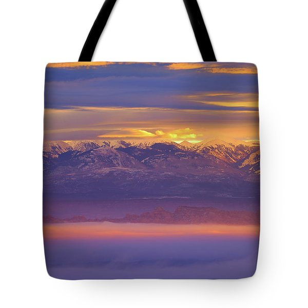 Spectacular Surnise Of The La Sal Mountains From Dead Horse Point State Park Tote Bag