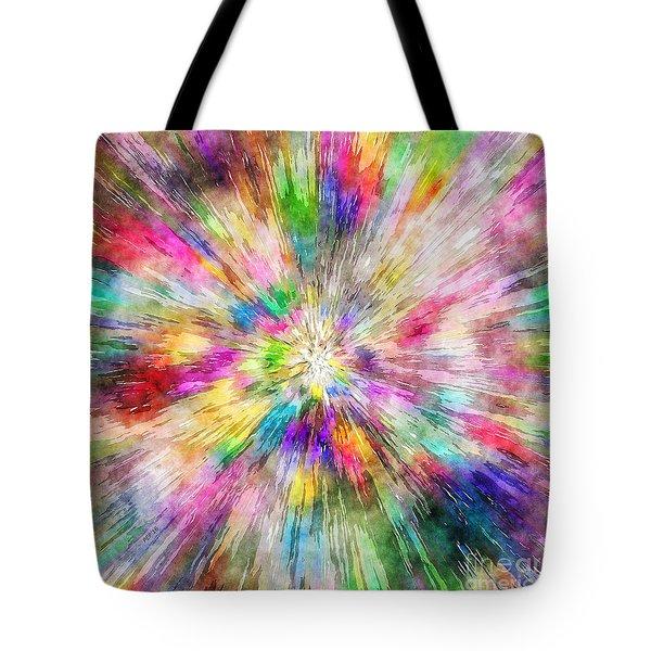 Spectral Tie Dye Starburst Tote Bag by Phil Perkins
