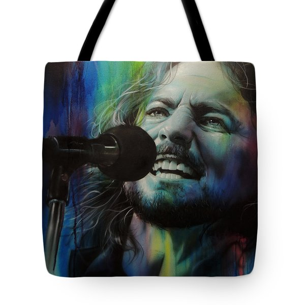 Eddie Vedder - ' Spectrum Of Vedder ' Tote Bag by Christian Chapman Art