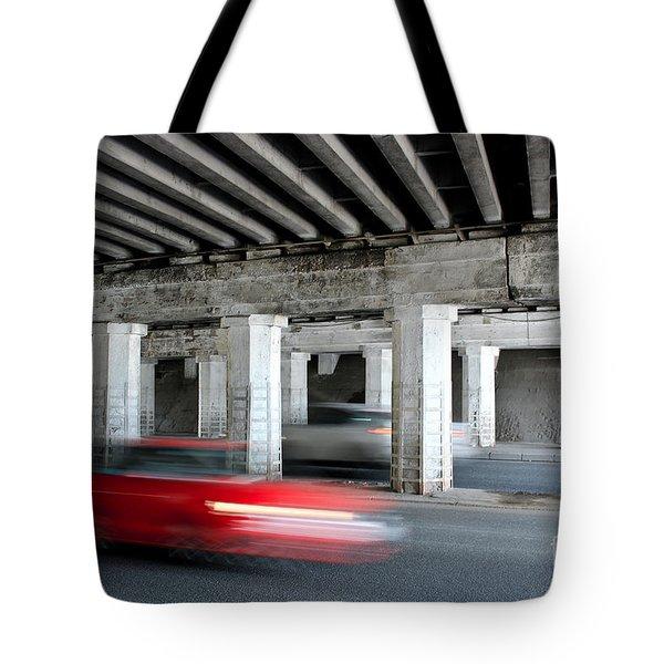 Speeding Car Tote Bag