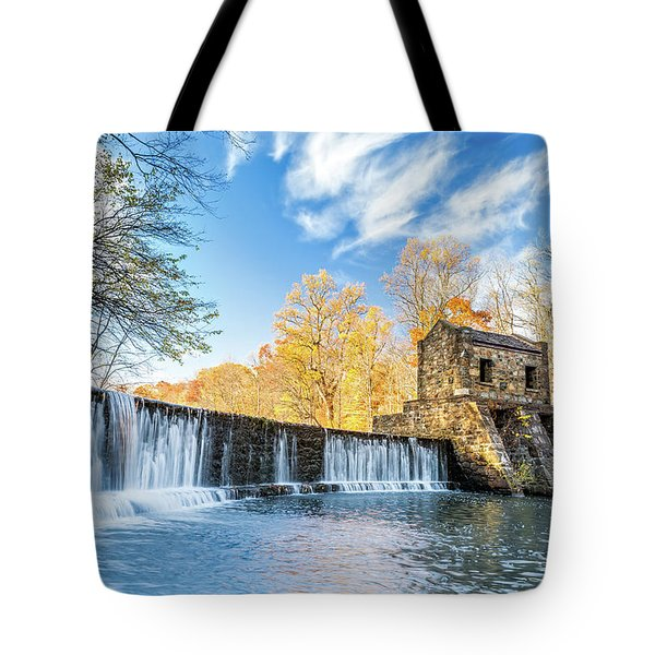 Tote Bag featuring the photograph Speedwell Dam Waterfall by Mihai Andritoiu