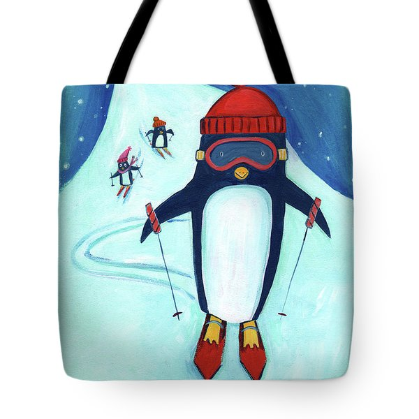 Speedy Skiing Penguin Tote Bag