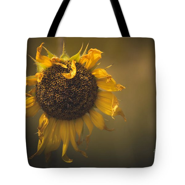 Tote Bag featuring the photograph Spent Sunflower by The Forests Edge Photography - Diane Sandoval