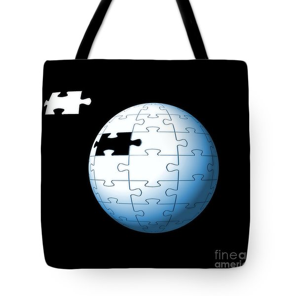 Spherical Puzzle With Missing Piece Tote Bag