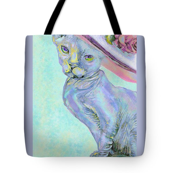 Tote Bag featuring the digital art Sphinx In Pink Hat by Jane Schnetlage