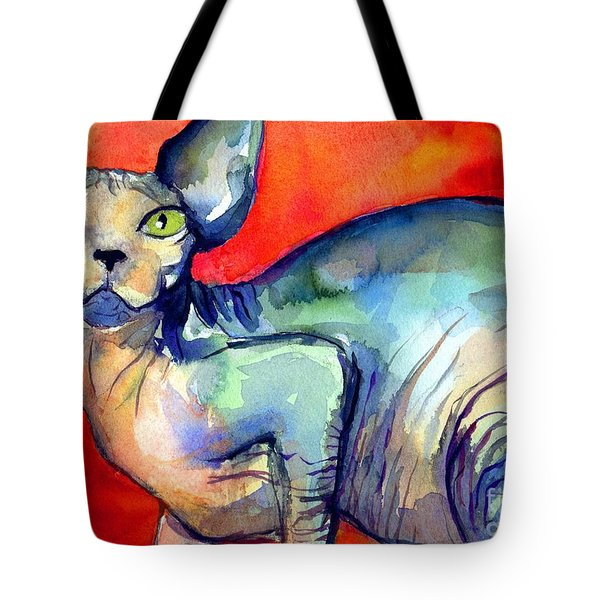 Sphynx Cat 6 Painting Tote Bag by Svetlana Novikova