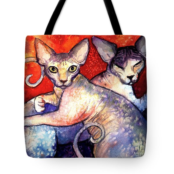 Sphynx Cats Sphinx Family Painting  Tote Bag